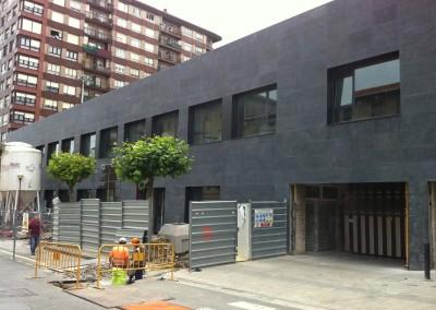 Bush hammered Blue Limestone - facade